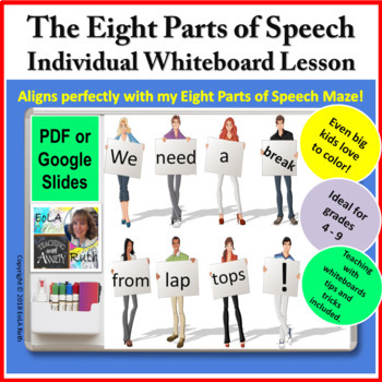 The Eight Parts of Speech   Individual Whiteboard Lesson