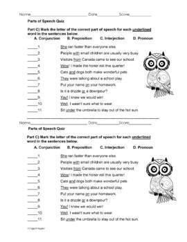 Parts of Speech: The Eight Parts of Speech Quiz