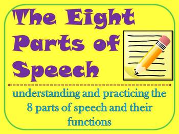The Eight Parts of Speech Review and Center Activities
