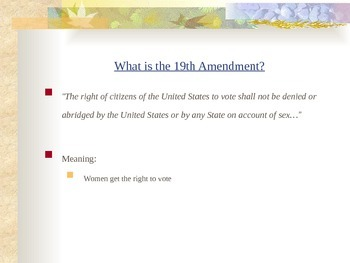 The Eighteenth - Twenty-Seventh Amendments Powerpoints