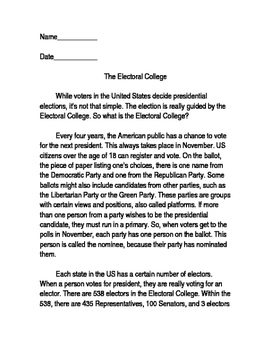The Electoral College Social Studies Reading with Questions