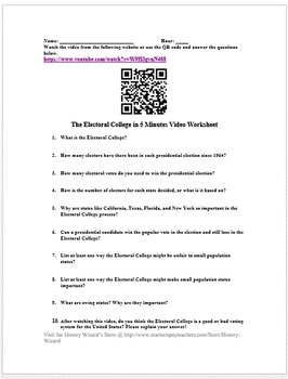 The Electoral College in 5 Minutes Video Worksheet