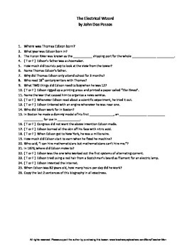 The Electrical Wizard by John Dos Passos Complete Guided Reading Worksheet