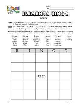 Elements BINGO Activity {Editable}