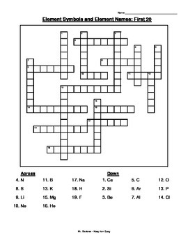 The Elements Crossword Puzzle, Word Search, and Word Jumble w/ Keys