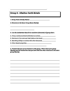 Periodic Table:  Elements in Groups 1, 2,17,18 Worksheet