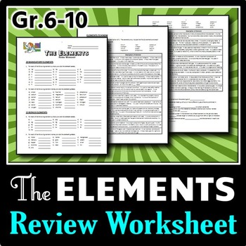 Elements - Review Worksheet {Editable}