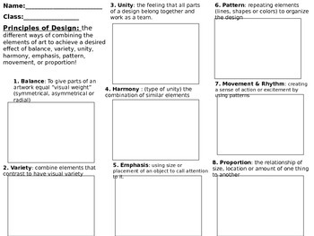 The Elements and Principles of Art Worksheet