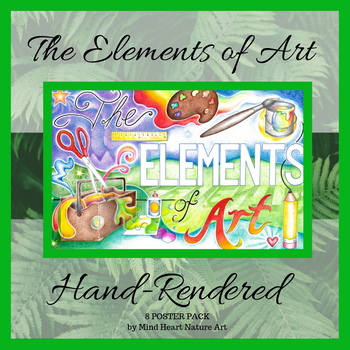 The Elements of Art, 8-Poster Pack, Hand Illustrated