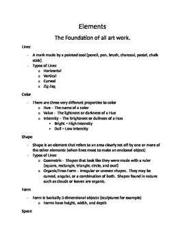 The Elements of Art Notes