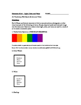 The Elements of Art Series (Worksheet and Animoto) - Light, Color, Value