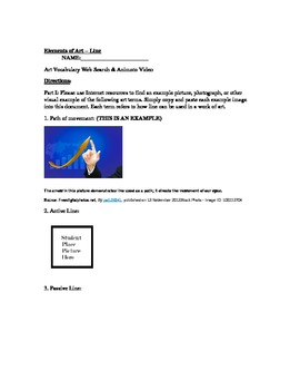 The Elements of Art Series (Worksheet and Animoto) - Line