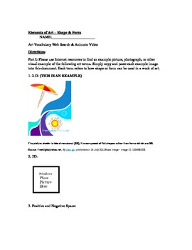 The Elements of Art Series (Worksheet and Animoto) - Shape