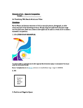 The Elements of Art Series (Worksheet and Animoto) - Space