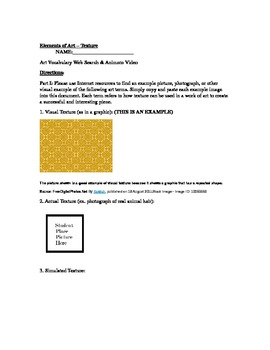 The Elements of Art Series (Worksheet and Animoto) - Texture