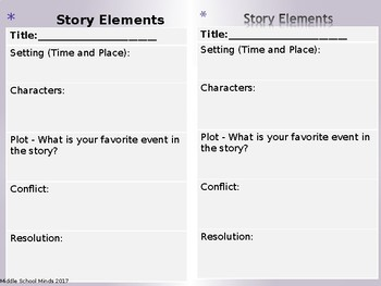 The Elements of a Story - Reader's Notebook Page