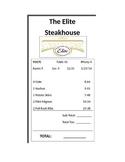 The Elite Steakhouse - Restaurant Bill