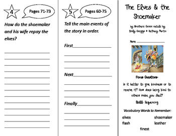 The Elves & The Shoemaker Trifold - Imagine It 2nd Grade Unit 1 Week 3