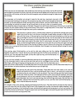 The Elves and the Shoemaker - Reading Comprehension Worksheet / Text