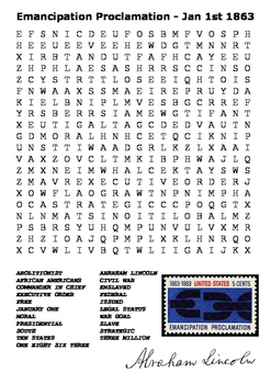The Emancipation Proclamation 1863  Word Search