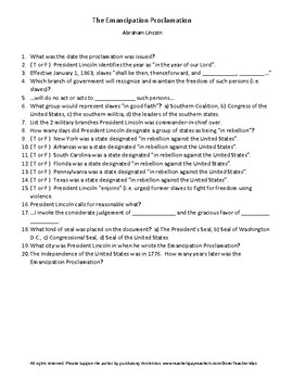 The Emancipation Proclamation Guided Reading Worksheet