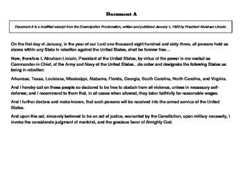 The Emancipation Proclamation Historical Investigation