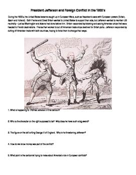 The Embargo Act: Foreign Relations - Thomas Jefferson Political Cartoon