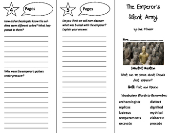 The Emperor's Silent Army Trifold - Journeys 6th Grade Unit 4 Wk 2 (2014, 2017)