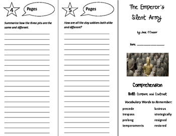 The Emperor's Silent Army Trifold - Storytown 6th Grade Unit 5 Week 2