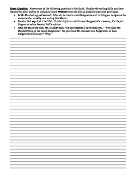 The Emperor's Club Film (2002) Study Guide Worksheet