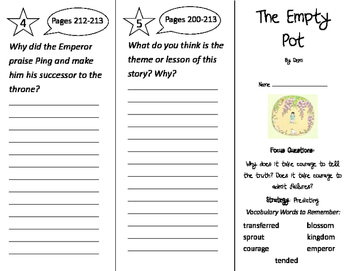 The Empty Pot Trifold - Imagine It 2nd Grade Unit 5 Week 3