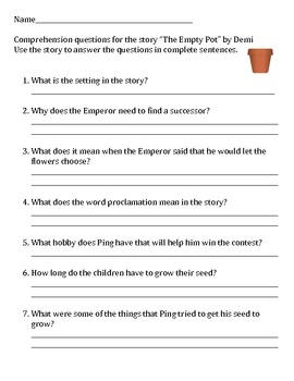 """""""The Empty Pot"""" - by Demi *Study Guide,Writing Activity,Comparing and Contrast"""