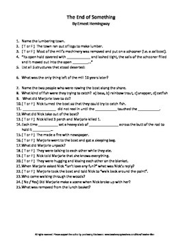 The End of Something by Ernest Hemingway Complete Guided Reading Worksheet