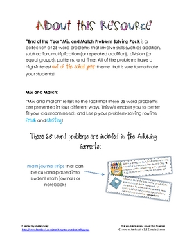 """The End of the Year"" Mix and Match Problem Solving Pack"
