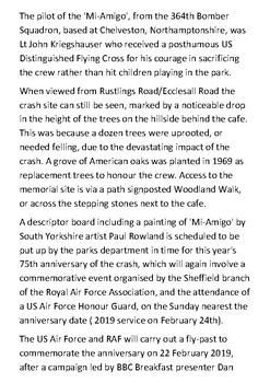 The Endcliffe Park Mi Amigo USAAF B-17 Memorial Handout