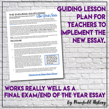 The Enduring Issues Essay New York State Regent Exam Scaffolded Middle School
