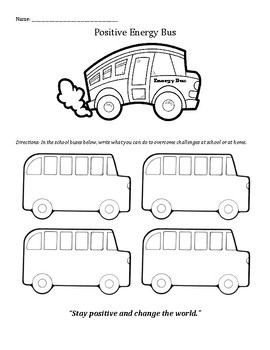 The Energy Bus for Kids: Staying Positive and Overcoming Challenges worksheet