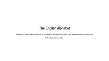 The English Alphabet - Initial sounds