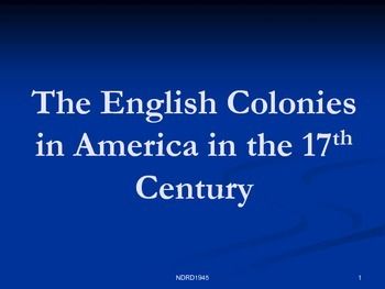 The English Colonies in the 17th Century