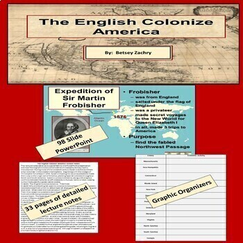 The English Colonize America PowerPoint, Lecture Notes, Worksheets
