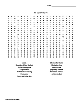 The English Empire Vocabulary Word Search for U.S. History