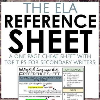 The English Language Arts Reference Sheet for Secondary ELA Writing