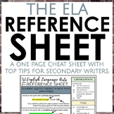 The English Language Arts Reference Sheet for Secondary EL