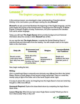 The English Language:  Where it All Began - High School Language Arts Mini