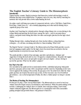 Unit & Guide to The Metamorphosis with quizzes, activities and exam