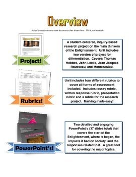 Enlightenment - Unit (PPTs, Project, Assignments, Essay, Test with Key)