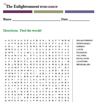 The Enlightenment WORD SEARCH