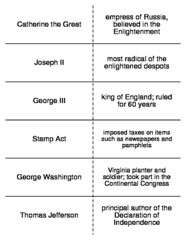 The Enlightenment and the American Revolution Vocab. Flash Cards