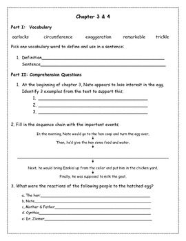The Enormous Egg Reading Comprehension Packet