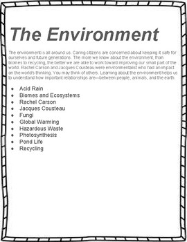The Environment  Unit Study